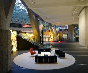 Lower Lobby with Internally Illuminated Onyx Wall