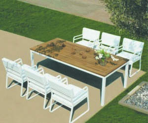 Milan outdoor dining table teak top and Milan chairs