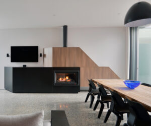Rinnai Symmetry Gas Log Fire in Black, design by KUD Kavellaris Urban Design